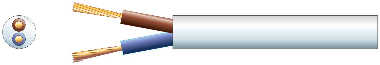 2 core round mains PVC, 2 x 24/0.2mm, 6A, 5.8mm¯, White, 50m