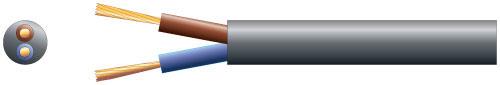 2 core round mains PVC, 2 x 24/0.2mm, 6A, 5.8mm¯, Black, 50m