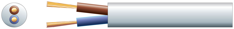 2 core round mains PVC, 2 x 48/0.2mm, 15A, 7.4mm¯, White, 50m