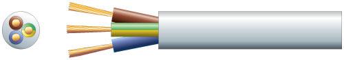 3 core round mains PVC, 3 x 32/0.2mm, 10A, 7.2mm�, Black, 100m
