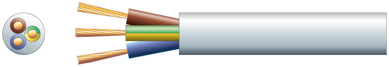 3 core round mains PVC, 3 x 32/0.2mm, 10A, 7.2mm¯, White, 50m