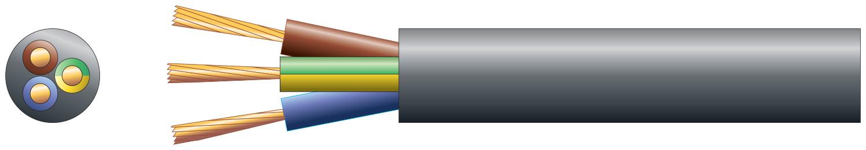 3 core round mains PVC, 3 x 32/0.2mm, 10A, 7.2mm¯, Black, 50m