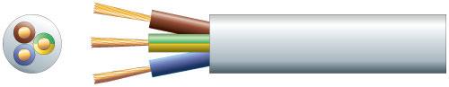 3 core round mains PVC, 3 x 48/0.2mm, 15A, 8.7mm�, White, 100m