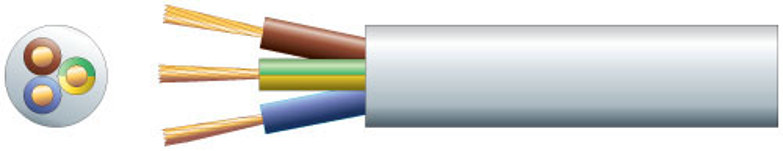 3 core round mains PVC, 3 x 48/0.2mm, 15A, 8.7mm¯, White, 25m