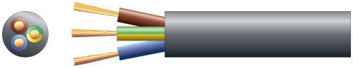 3 core round mains PVC, 3 x 48/0.2mm, 15A, 8.7mm¯, Black, 50m