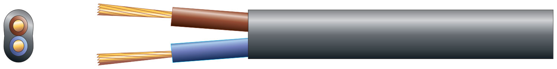 2 core oval mains PVC, 2 x 16/0.2mm, 3A, Black, 50m