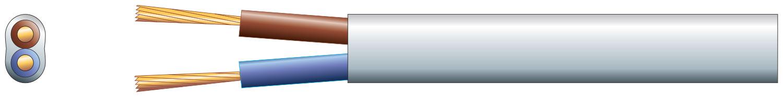 2 core oval mains PVC, 2 x 16/0.2mm, 3A, White, 50m