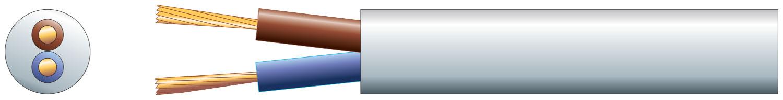 2 core round mains PVC, 2 x 24/0.2mm, 6A, 6.35mm¯, White, 50m