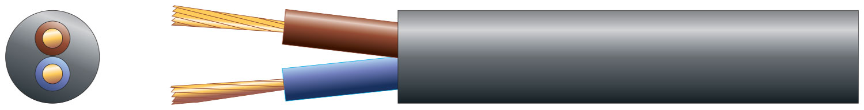 2 core round mains PVC, 2 x 24/0.2mm, 6A, 6.35mm¯, Black, 50m