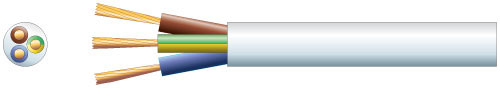 3 core round mains PVC, 3 x 16/0.2mm, 3A, 5.6mm�, Black, 100m