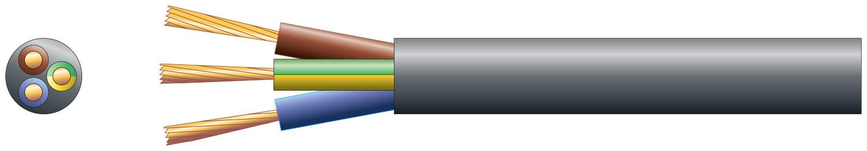 3 core round mains PVC, 3 x 16/0.2mm, 3A, 5.6mm¯, Black, 50m