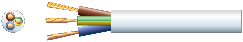 3 core round mains PVC, 3 x 24/0.2mm, 6A, 6.1mm, White, 100m