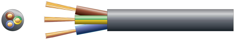 3 core round mains PVC, 3 x 24/0.2mm, 6A, 6.1mm, Black, 50m