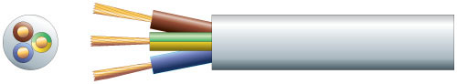 3 core round mains PVC, 3 x 40/0.2mm, 13A, 7.8mm�, White, 100m