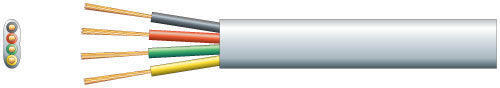 4 core flat Tel/Data cable, 4 x 7/0.15mm, White, 100m