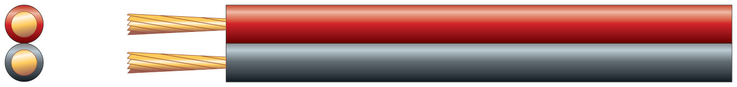 Fig 8 red/black speaker cable, 2 x 16/0.2mm, CCA, 2.5A