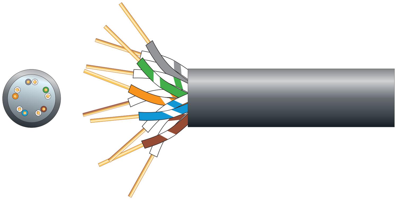 mercury CW1128 Telephone Cable 5 Pairs, 100m, Black