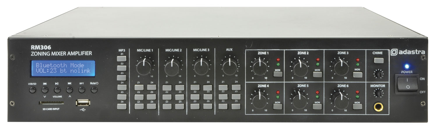 adastra RM306 6-zone mixer-amplifier + USB/SD/FM/Bluetooth®