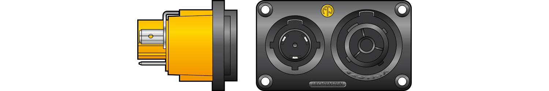 neutrik NAC3PX Powercon Duplex Chassis Connector