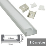 Aluminium LED tape profile 1m - shallow section by fluxia, Part Number 156.802UK