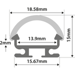 Alu LED Profile - D Section 1m by lyyt, Part Number 156.823UK