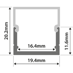 Alu LED Profile - Box Section 1m by lyyt, Part Number 156.825UK