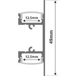 Alu LED Profile - 2-way Bar 1m by lyyt, Part Number 156.828UK