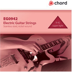 Electric Guitar strings, Steel/nickel, Super Light (9-42) by Chord, Part Number 173.178UK