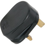 MSB45B Rubber UK mains plug, 13A fuse, Black by Mercury, Part Number 429.627UK