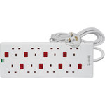 8 gang 13A extension lead With anti-surge protection and 8 neon switches by Mercury, Part Number 429.797UK
