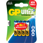 Ultra+ Alkaline batteries, AA, 1.5V, packed 4/Blister by GP Battery, Part Number 656.000UK