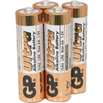 Alkaline batteries, AA, 1.5V, packed 4 /Blister by GP Battery, Part Number 656.010UK
