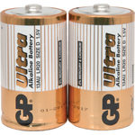 Alkaline batteries, D, 1.5V, packed 2 /Blister by GP Battery, Part Number 656.017UK