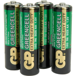 Zinc chloride batteries, AA, 1.5V, packed 4 per Blister by GP Battery, Part Number 656.050UK