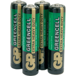 Zinc chloride batteries, AAA, 1.5V, packed 4 per Blister by GP Battery, Part Number 656.053UK