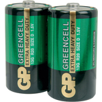 Zinc chloride batteries, D, 1.5V, packed 2 per Blister by GP Battery, Part Number 656.057UK