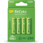 NiMH rechargeable batteries, 1.2V, 1300mAh, AA, packed 4 per Blister by GP Battery, Part Number 656.150UK