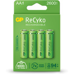 NiMH rechargeable batteries, 1.2V, 2500mAh, AA, packed 4 per Blister by GP Battery, Part Number 656.154UK