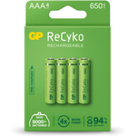 NiMH rechargeable batteries, 1.2V, 650mAh, AAA, packed 4 per Blister by GP Battery, Part Number 656.158UK