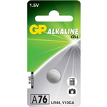 Alkaline button cell, 1.5V/ LR44, 1 piece per Blister by GP Battery, Part Number 656.203UK