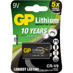 9V Lithium PP3 Battery CR-V9 by GP Battery, Part Number 656.331UK