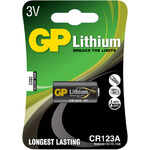 Lithium photo cell, CR123A, 3V, packed 1 per Blister - 16.8 x 34.5mm by GP Battery, Part Number 656.339UK