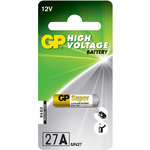 Remote Control Battery, Alkaline, Type 27A (28.0 x 7.7mm) by GP Battery, Part Number 656.624UK