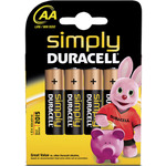 AA Simply Duracell Alkaline Batteries - 4 Pack by Duracell, Part Number 656.950UK