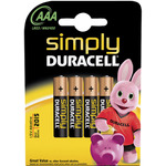 AAA Simply Duracell Alkaline Batteries - 4 Pack by Duracell, Part Number 656.951UK