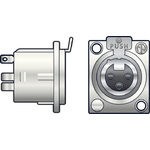 Neutrik NC3FDX 3-pin XLR chassis female socket by Neutrik, Part Number 761.660UK