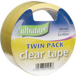 Clear Tape 18mm x 40m Twin Pk by ultratape, Part Number 799.014UK