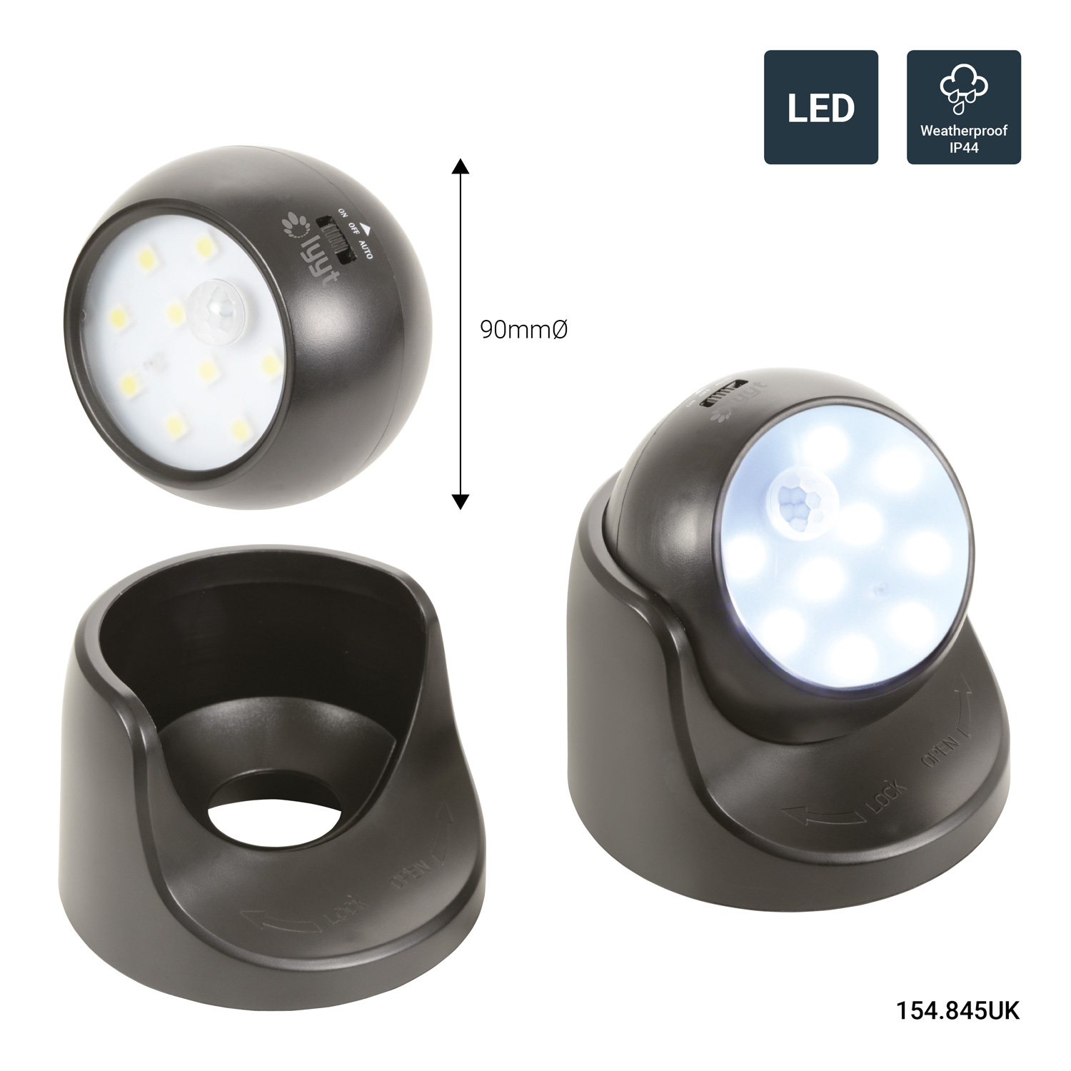 Lyyt 154.845 Compact and Bright Battery Powered LED Motion Sensor Light Black
