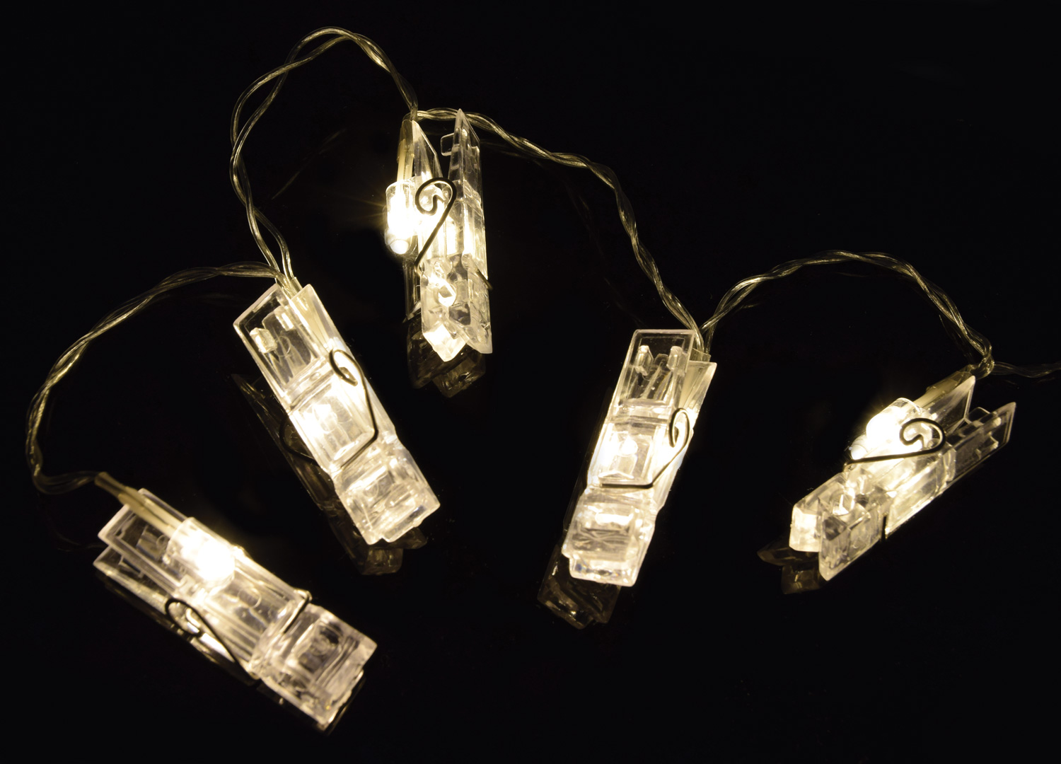 10 photo clip peg display fairy string lights wall hanging - How to hang string lights on wall ...