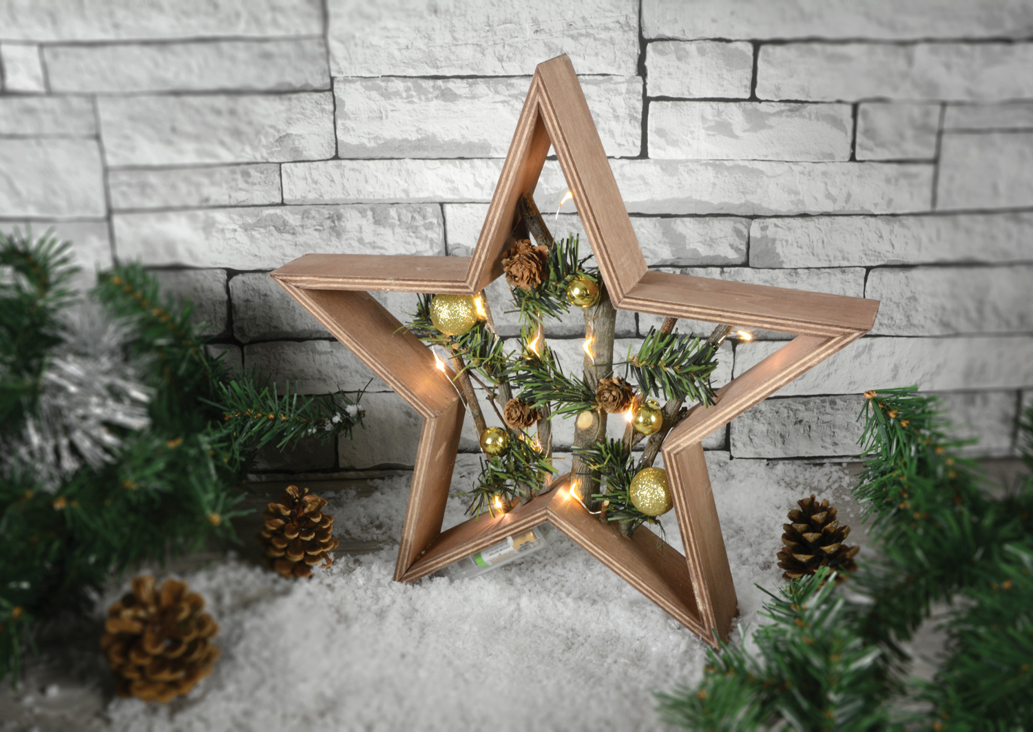 Lyyt Nordic Christmas Xmas Wooden Star Decoration Window Room Light ...
